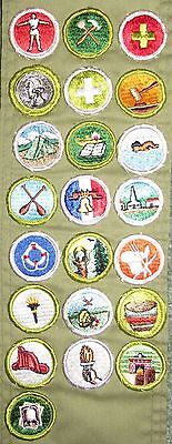 Boy Scouts of America BSA Merit Badge Sash with 22 Merit Badges Personal Fitness
