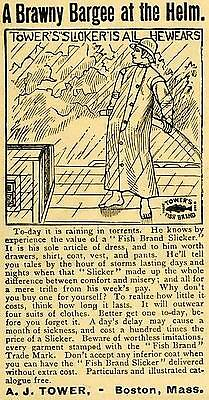 1890 Ad A. J. Tower Brawny Bargee Helm Fish Brand Slicker Raincoat Boston AAG1