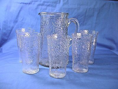 Federal Glass Jack Frost ? Crackled Glass Pitcher & 5 Tumblers Glasses
