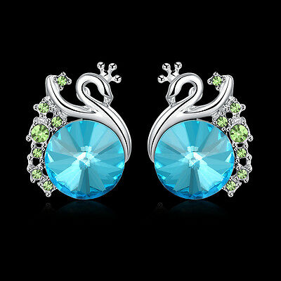Peacock Blue Crystal Jewelry Diamond Elegant Vintage Style Jewelry Stud Earrings