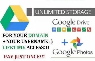 For Your Domain Unlimited Google Drive Storage+Custom Username+Lifetime Access