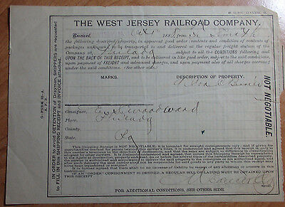1888 Shipping Receipt, Bill Of Lading The West Jersey Railroad Company