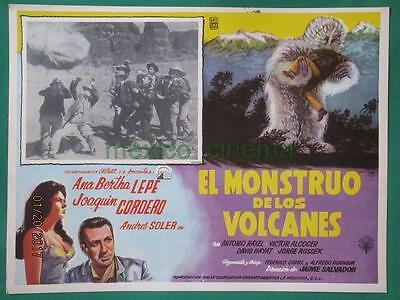 THE MONSTER OF THE VOLCANO Horror YETI BIGFOOT SPANISH MEXICAN LOBBY CARD