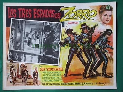 Three Swords Of Zorro Guy Stockwell Fencing Spanish Mexican Lobby Card