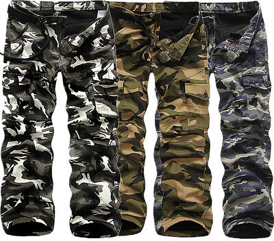 Military Men's Cotton Cargo Pants Combat Camouflage Camo Army Style Trousers Lot
