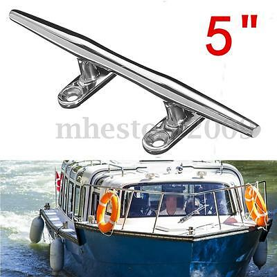 5'' Heavy Duty Base Boat Dock Deck Rope Cleat Marine Bollard Yacht Stainless New