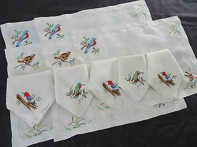 Vtg Antique Madeira Linen BIRDS 5 Placemats 5 Napkins Hand Embroidered Set