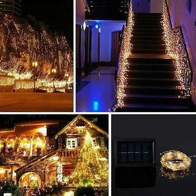 Solar Powered Warm White 20M 200LED Copper Wire Outdoor String Fairy Light DQH