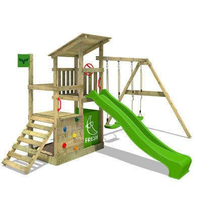 FATMOOSE FruityForest Fun XXL Wooden Climbing Frame DoubleSwingSet Slide Sandbox