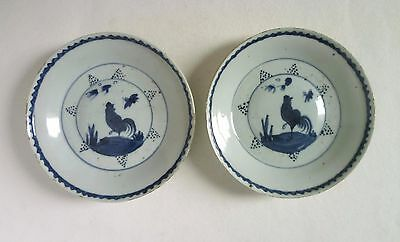 Chinese Late MING Pair DISHES. Tianqi C17th Ko-Sometsuke Antique Blue & White