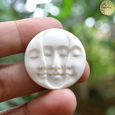 Hand Carved Triple Moon Face 30mm Natural Buffalo Bone Carving Bead Undrill #2