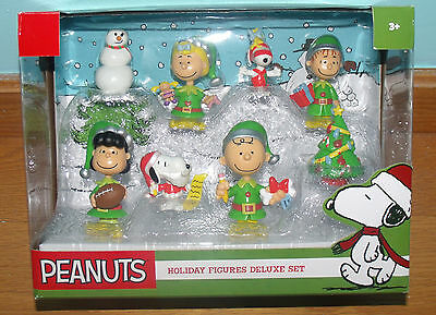 New Peanuts Snoopy Holiday Figures 8 PC Deluxe Set Just Play Christmas