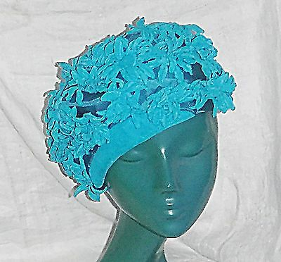 Vintage Semi Structured Beret Come Deep Pill Box Hat Turquoise Velvet Leaves Wow