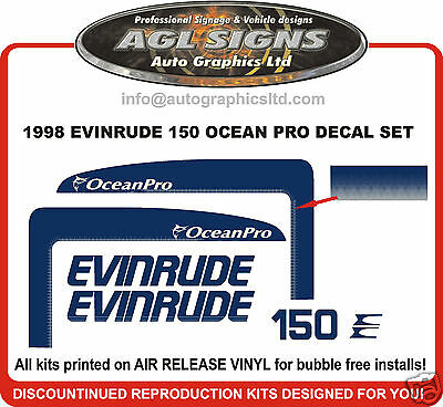 1998 Evinrude 150 Hp Ocean Pro Outboard Motor Decal Set 175 Hp , Reproductions