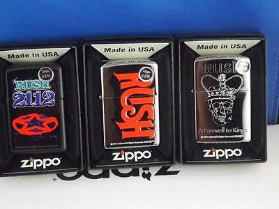 Zippo Lighter Collection  Lot Rush A Farewell To Kings  2112 Red Band Logo 3 Pcs