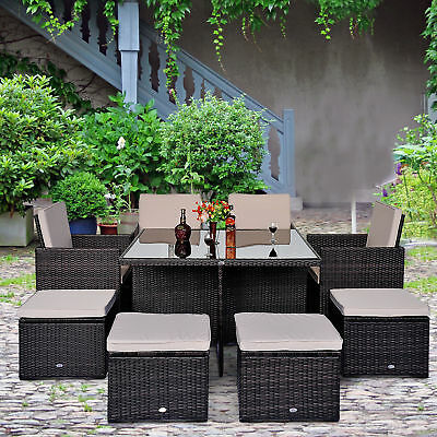 Outsunny Deluxe 9Pcs Rattan Wicker Dining Room Sofa Table Set Outdoor Patio Fur