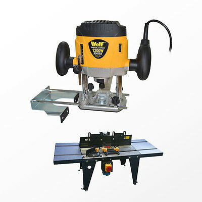 Wolf 1200w Variable Speed Plunge Router and Die Cast Aluminium Top Router Table