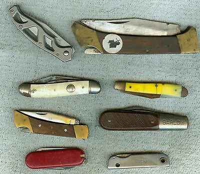8 Mostly Older Pocket Knives Knife Lot Barlow Gerber & More Need Cleaning & Care