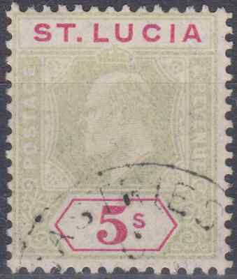 St Lucia 1905 Used 5/- Green & Carmine SG76 Cat £200
