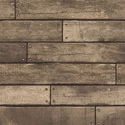 Brown Wooden Plank Effect Wallpaper - Fine Decor Fd31289 Feature Wall New