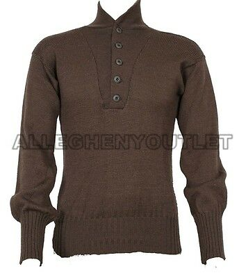 US Military 100% Wool Army Jeep SWEATER 5 Button Warm Winter - XL (46-48) GC
