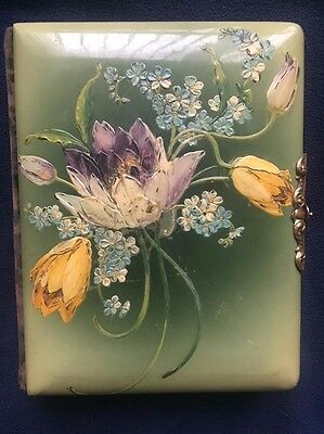 Vintage Celluloid Victorian Photo Album Lovely Flowers & Clasp Altered Art?