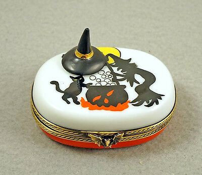 New French Limoges Trinket Box Witch Making Magic Potion & Miniature Witches Hat