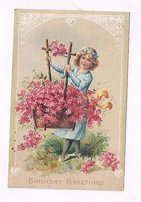Antique 1912 Birthday Post Card  Victorian Girl with Pink Forget-Me-Nots