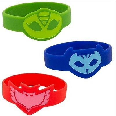 Set of 3 x PJ Masks Owlette Catboy and Gekko Wristband Bracelet Wrist Band UK