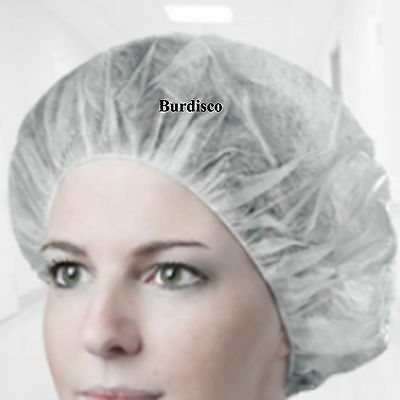 100 BOUFFANT CAPS, WHITE, DISPOSABLE FOR FOOD SERVICE, KITCHEN CLEAN ROOM 21 in.