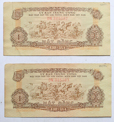 SOUTH VIETNAM Viet Cong 2x consecutive serial numbers 1 Dong (1963) P.R4