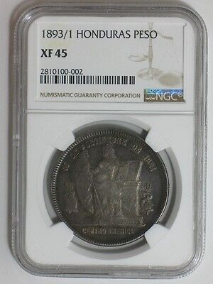 1893/1 Honduras Peso - Ngc Certified Xf 45 - Foreign World Coin