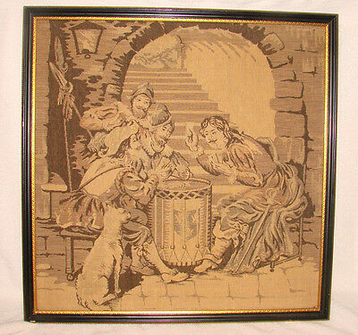 "Antique Vintage Framed Tapestry 19""x19"" Jesters Card Players Drum Dog Puffy Nice"