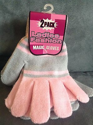 Ladies 2 Pack Of Stretch Magic Gloves Pink & Gray - Brand New With Tags