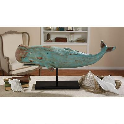 Sperm Whale Distressed Teal Wood Finish Sculpture Home Statue on Mount