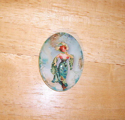 30X40mm Vintage Showgirl Glitter Unset Handmade Art Bubble Cameo Cabochon
