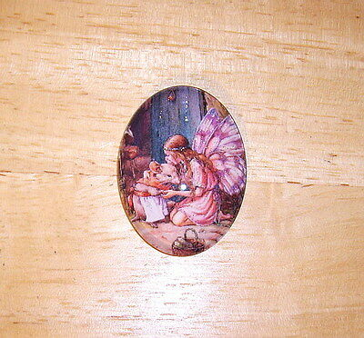 30X40mm Fairy & Mouse Glitter Unset Handmade Art Bubble Cameo Cabochon