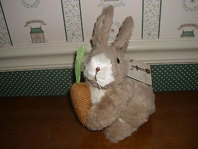 Bethany Lowe-Easter -Large Furry Brown Rabbit With Carrot-New
