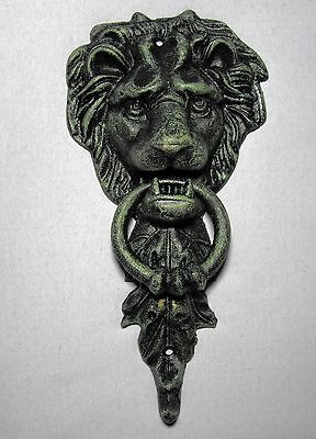 Majestic LION HEAD Cast Iron DOOR KNOCKER ~ Doorknocker VERDEGRIS