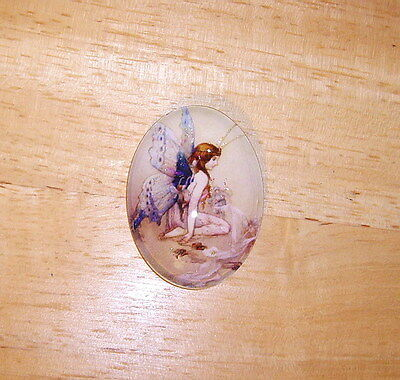 30X40mm Kneeling Fairy Glitter Unset Handmade Art Bubble Cameo Cabochon