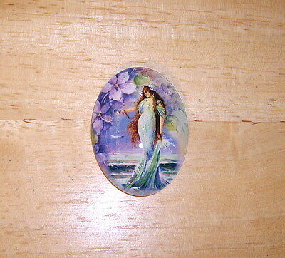 30X40mm Vintage Mermaid Glitter Unset Handmade Art Bubble Cameo Cabochon