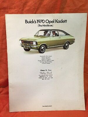 1970 Buick Opel Kadett Deluxe 20 Pages Colorful  Brochure Catalog Promotional