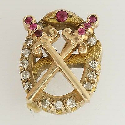 Theta Chi Badge - 10k Yellow Gold Rubies Diamonds Fraternity 1950 Snake Pin