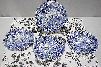 LOT of FOUR Myott The Hunter Blue  6 5/8' Bread and Butter Plates EXC+