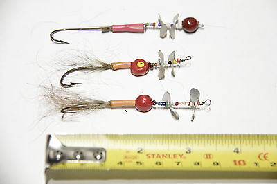 "Vintage ASSORTMENT of 3 Dual Propeller FISHING Lures FLIES, 3 1/2"" (lot #35)"
