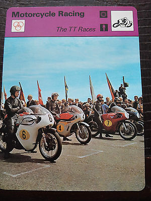 ISLE OF MAN TT RACES Sportscaster Rencontre Photo Fact Card  - Rare