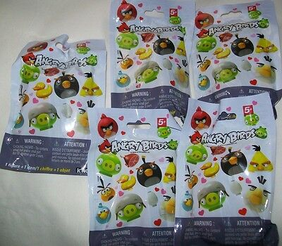 new KNEX ANGRY BIRDS Valentine Mystery Figure Blind Pack SET/ LOT of 5 Different