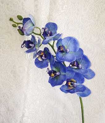 BLUE Phalaenopsis Orchids REAL TOUCH Silk Wedding Flowers Bouquets Centerpieces