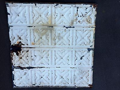 "1- Antique 100 yr. Old Tin Ceiling Tile Vintage Reclaimed Salvage 24"" x 24"""