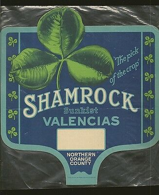 Shamrock Sunkist Valencia Oranges Litho in USA Sign